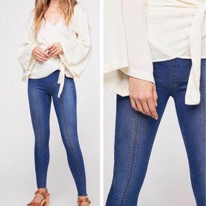 Free People Raw Hem Skinny Seamed Pull On Jeans